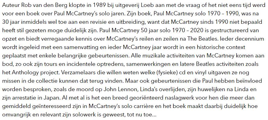 Recensie boek Paul McCartney 50 jaar solo